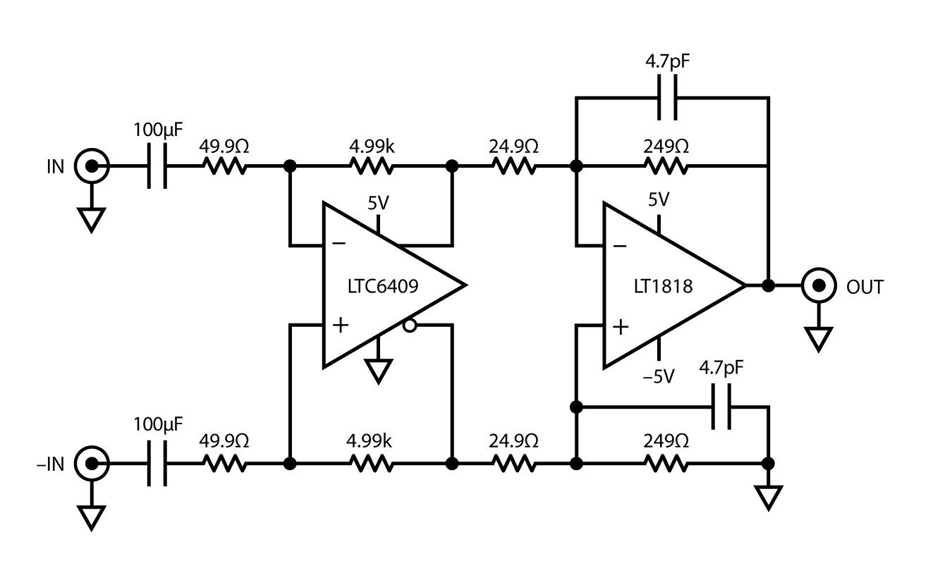 Figura 15. Un semplice amplificatore da differenziale a sbilanciato fornisce 60dB di guadagno.