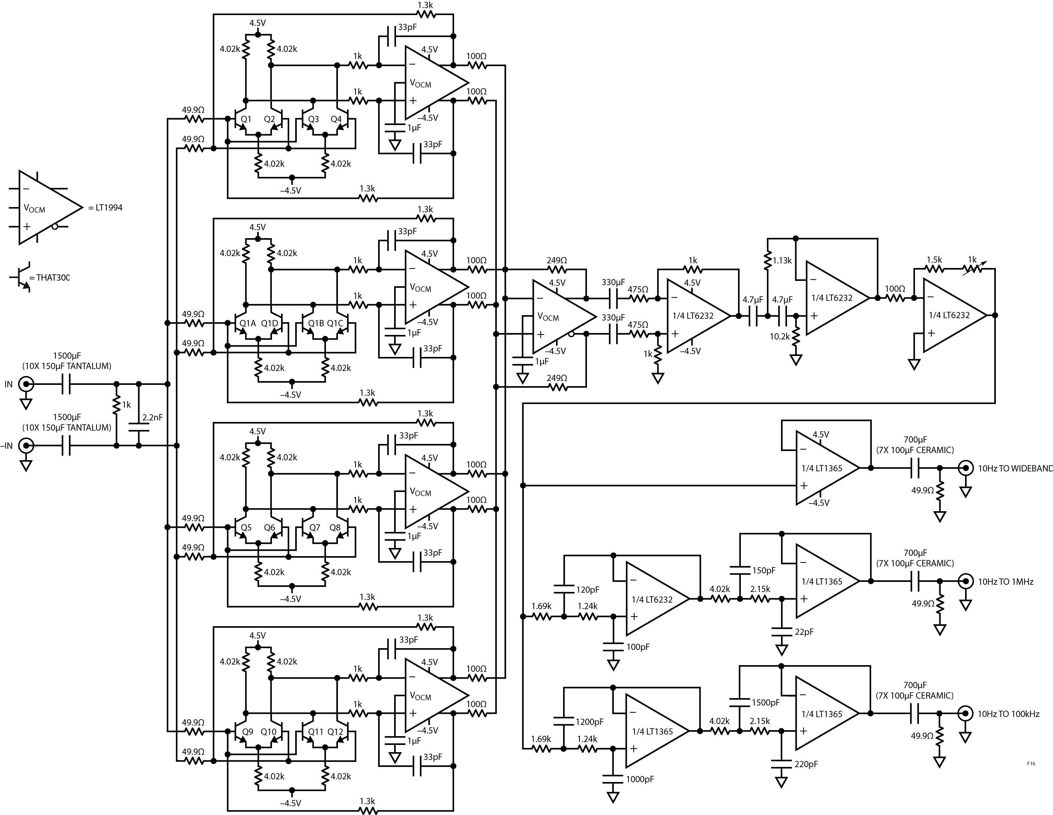 Figura 16. Un amplificatore migliorato fornisce ingressi differenziali con 80dB di guadagno.