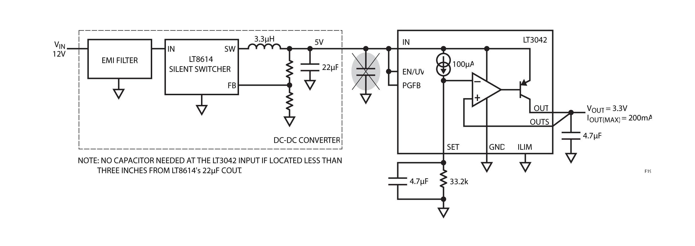 Figura 19. Uso dell'LT3042 per post-regolare l'LT8614 Silent Switcher.