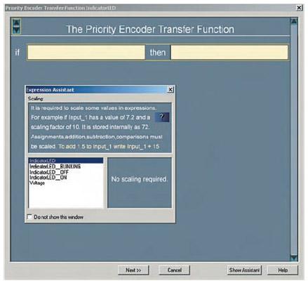 Figura 9. PriorityEncoder è una delle funzioni di trasferimento che si posso definire con PSoC Express. La finestra Expression Assistant semplifica la definizione delle espressioni, perché contiene un elenco delle variabili e costanti che si possono utilizzare