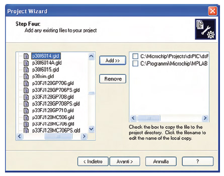 Figura 3. Project Wizard: file del progetto