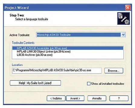 Figura 2. Project Wizard: scelta della toolsuite