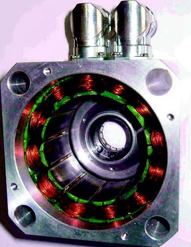 Figura 1. Un motore brushless (in figura un dettaglio dello statore) funziona mediante controllo elettronico e non meccanico. Non utilizzando contatti elettrici striscianti riduce la resistenza meccanica, la formazione di scintille e la necessità di manutenzione