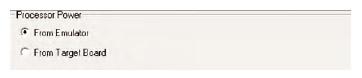 Figura 8. ICE 2000 permette di selezionare la sorgente da cui prelevare l'alimentazione: dall'emulatore (5V) oppure dalla scheda (da 2.0V a 5.5V)