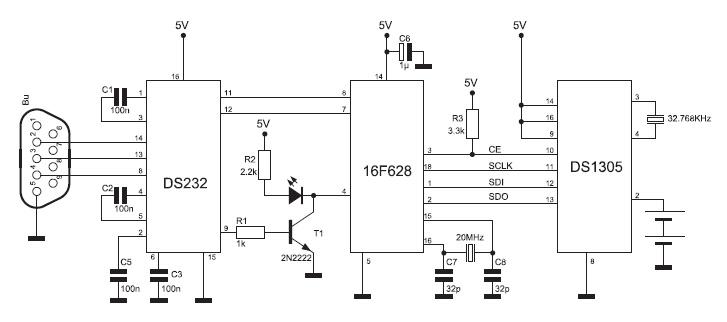 Figura 1. Schema elettrico per la connessione del RTC al PIC