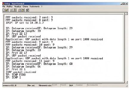 Figura 4. La visualizzazione dello stato del protocollo su Hyperterminal