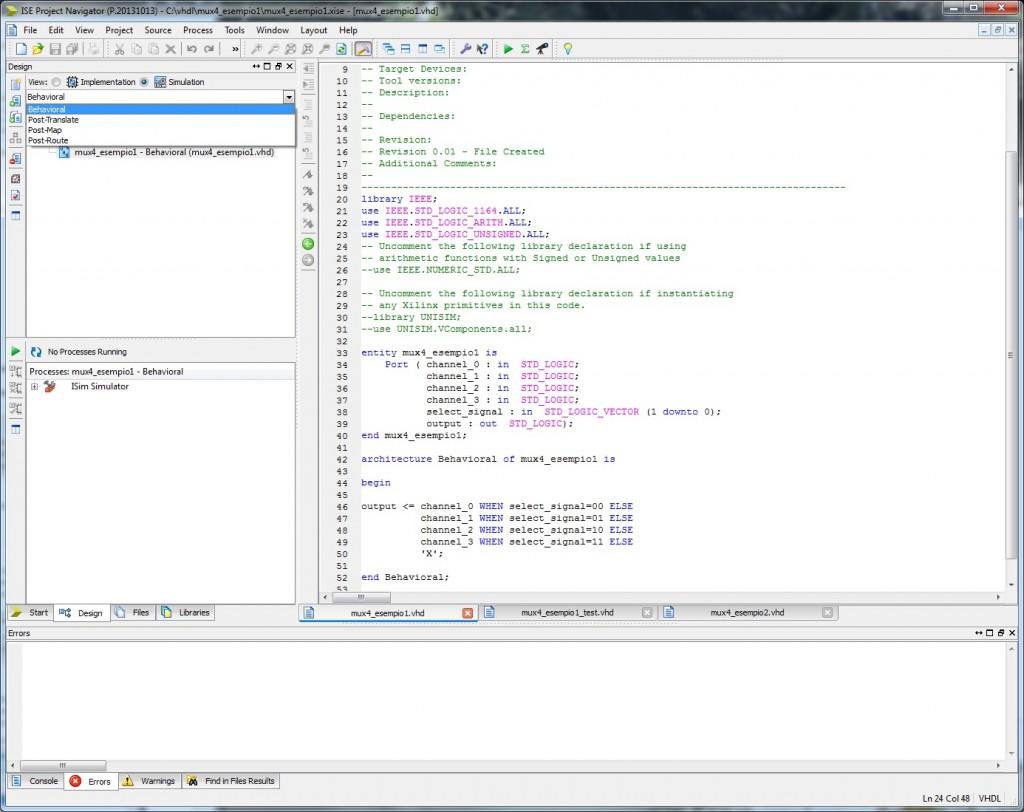 Figura 1. Ambiente Xilinx ISE e sezioni di implementazione e simulazione