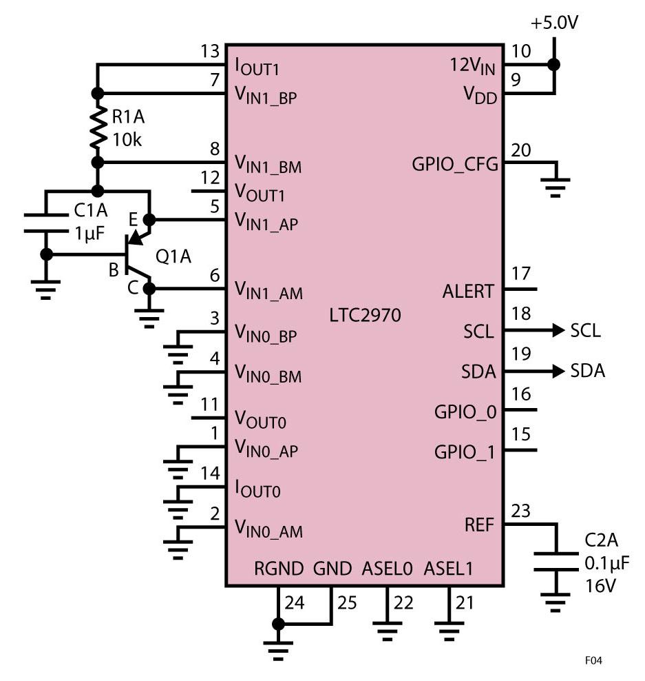 Figura 4: Schema del test di temperatura con l'LTC2970 – Uno di otto sulla scheda