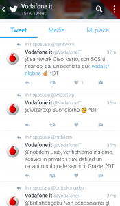 Figura 1: esempio di profilo aziendale su Twitter che risponde alle richieste degli utenti