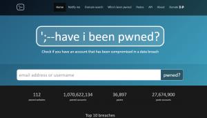Figura 3: il sito Have I Been Pwned che permette di scoprire le eventuali violazioni di account