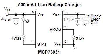 Figura 4: Schema elettrico del regolatore di carica MCP73831/2