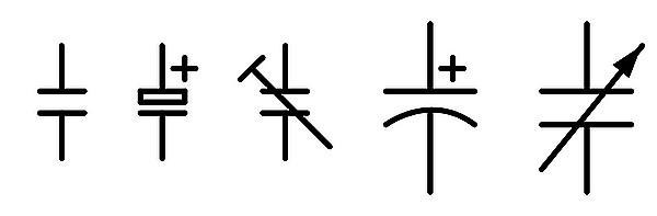 Figura 2: Alcuni simboli del condensatore.