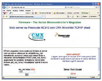 Figura 3. Il web server in esecuzione