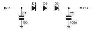 Figura 4. Regolatore di tensione con tre diodi