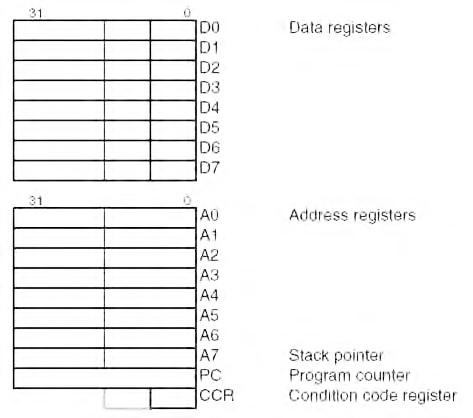 Figura 13. Principali registri per operazioni integer dei micro MCF522xx.