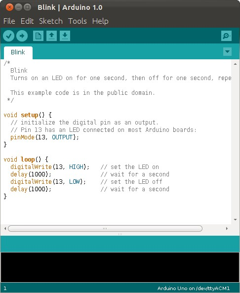Figura 1: L'IDE di Arduino.