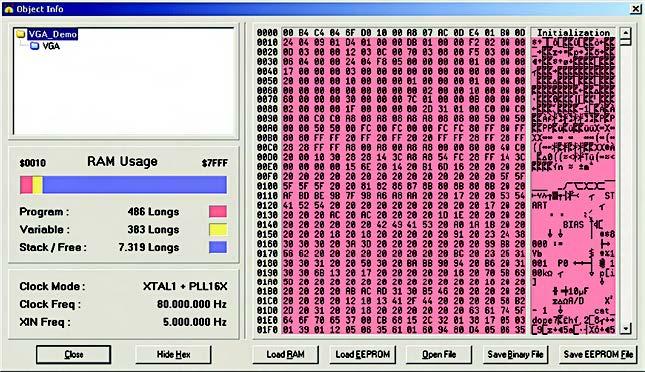Figura 5. La finestra Object Info mostra utili informazioni sul progetto compilato: RAM e ROM utilizzata, frequenza operative e formato hex del file
