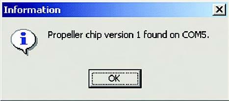 Figura 7. Il messaggio indica che la comunicazione tra PC e il dispositivo per la programmazione del chip è correttamente impostato