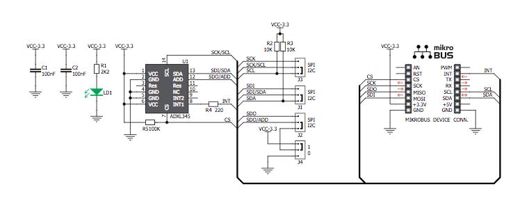 Figura 2: Schema elettrico del modulo Accel click