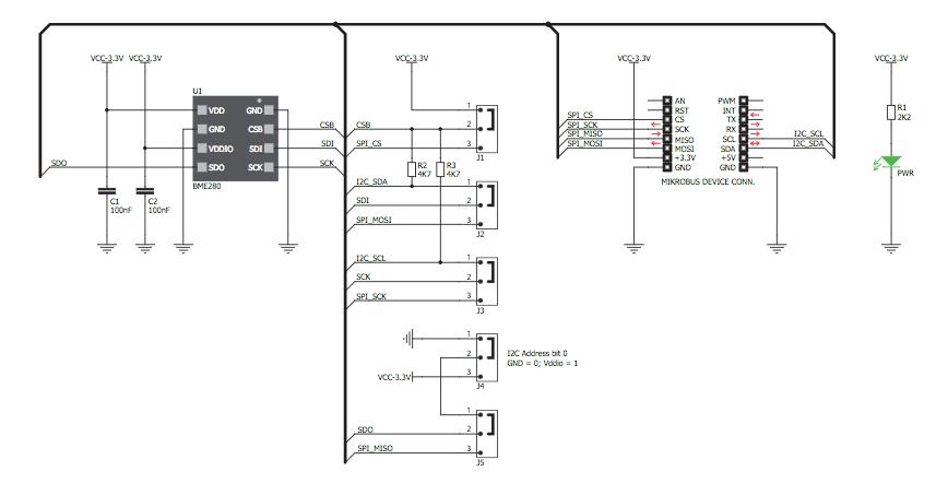 Figura 2: Schema elettrico del modulo Weather Click