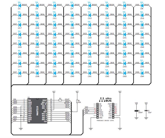 Figura 2: Schema elettrico del modulo 8x8 Click