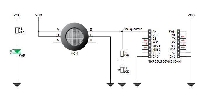 Figura 3: Schema elettrico del Modulo Methane Click