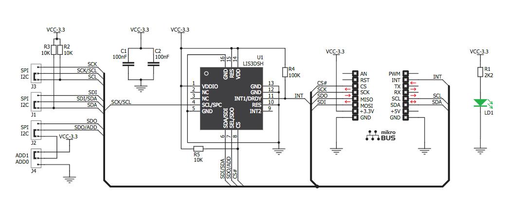 Figura 6: Schema elettrico del modulo Accele 2 Click