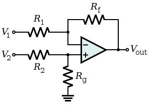 Figura 4: Schema elettrico di un amplificatore differenziale.