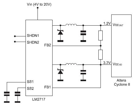 Figura 4. In questa configurazione circuitale il terminale a 3,3 V viene utilizzato come tensione ausiliaria per la generazione della tensione del core di valore inferiore a 1,25 V
