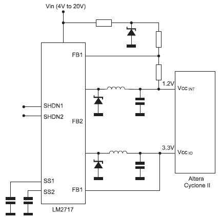 Figura 5. In questa configurazione viene utilizzato il riferimento di tensione LM4040 per la generazione della tensione del core di valore inferiore a 1,25 V