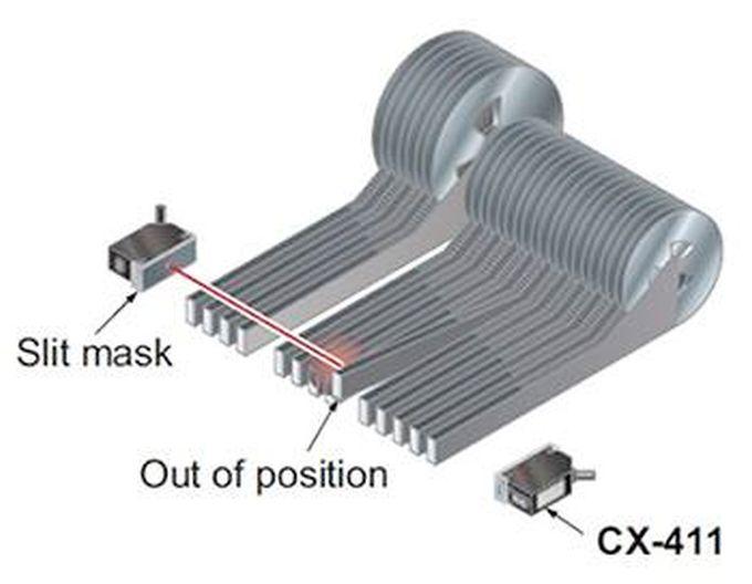 Figura 1 - Figura 1 – un sensore ottico per verificare il corretto allineamento dei nastri di componenti SMD