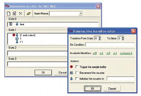 Figura 4. La finestra per il triggering basata macchine a stati