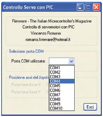 Figura 6. Selezione della porta COM nel programma di controllo