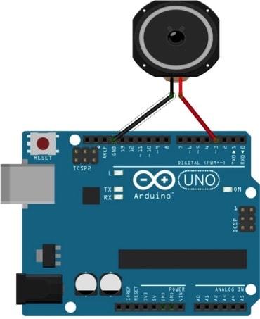 Figura 1: Il collegamento Arduino con l'altoparlante