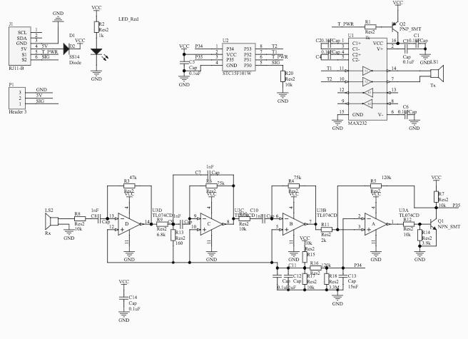 Figura 3: Schema elettrico del modulo ad ultrasuoni