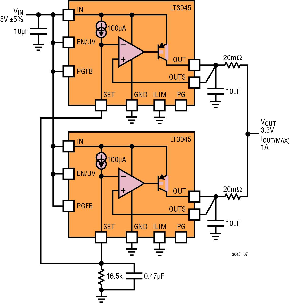 Figura 4. Funzionamento in parallelo dell'LT3045