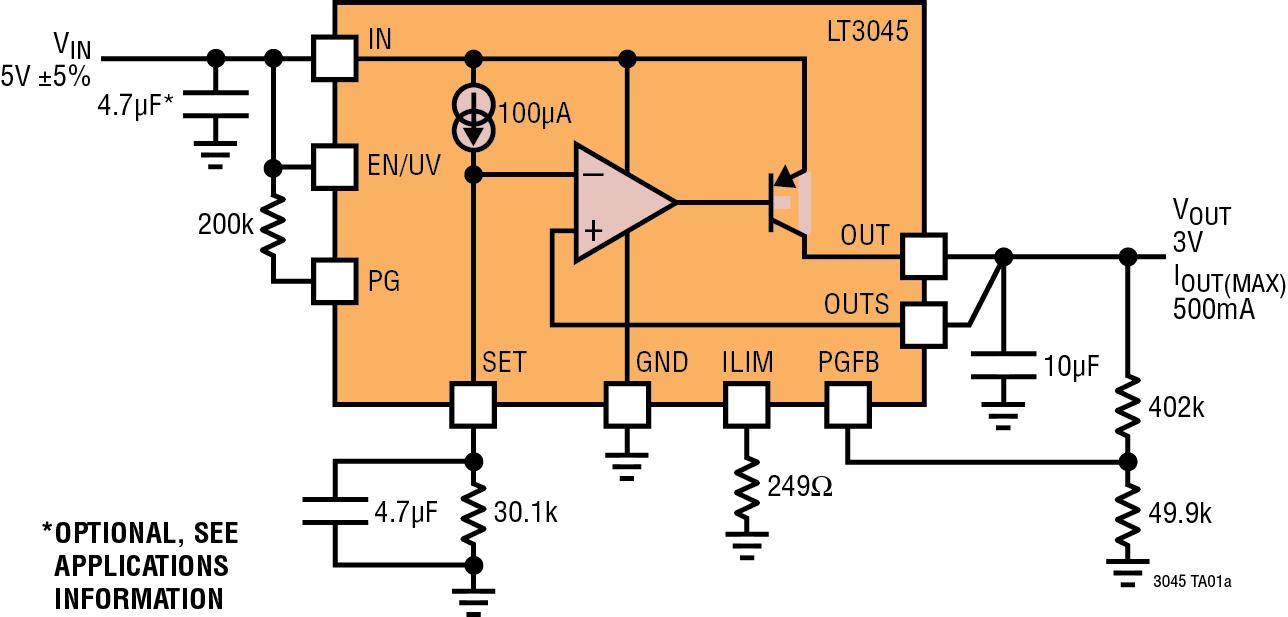 Figura 1. Caratteristiche e schema applicativo tipico del regolatore LT3045