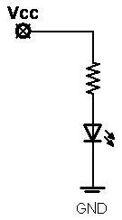 Figura 2: Schema di collegamento di un Led lampeggiante.