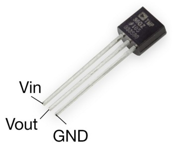 Figura 2: Il sensore di temperatura TMP36GT9Z.