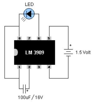 Figura 3: Lampeggiatore realizzato con l'integrato LM3909.