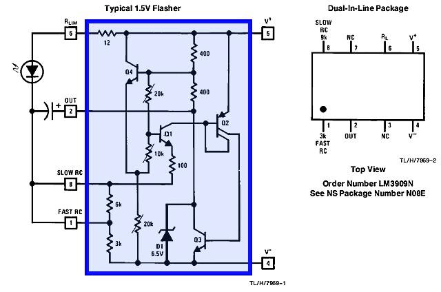 Figura 4: L'interno dell'integrato LM3909.