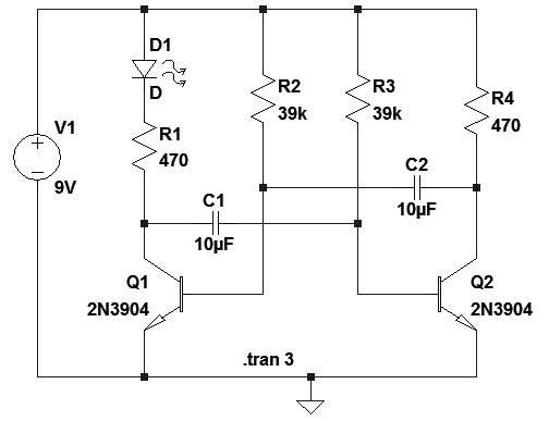 Figura 5: Schema elettrico del multivibratore astabile.