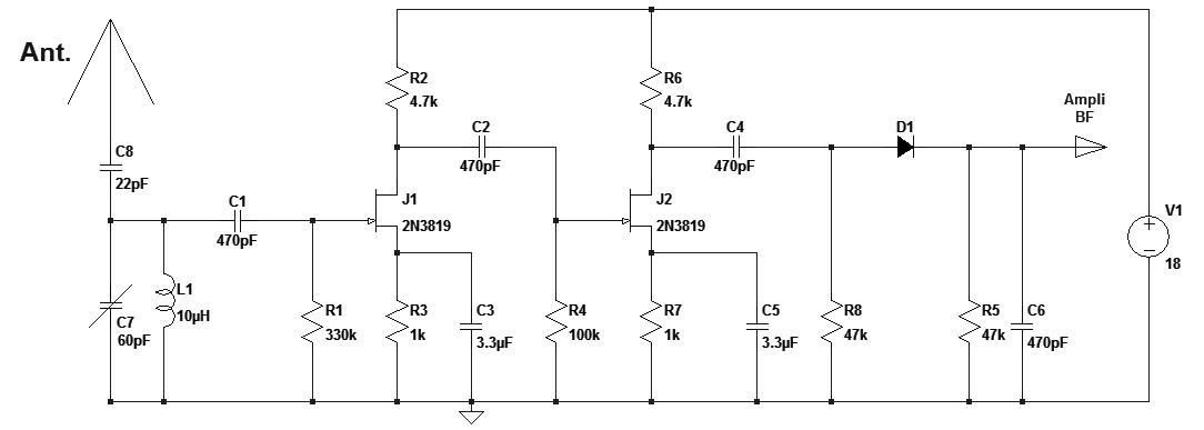 Figura 6: Schema elettrico della radio ad onde corte.