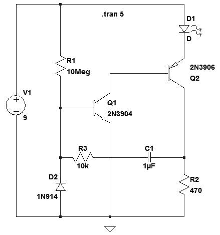 Figura 7: Schema elettrico del lampeggiatore ultravisibile.