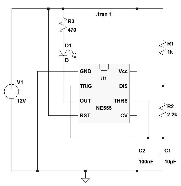 Figura 10: L'integrato NE555 come lampeggiatore.