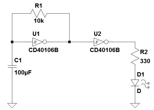 Figura 13: Schema elettrico di lampeggiatore che utilizza la porta NOT CD40106.
