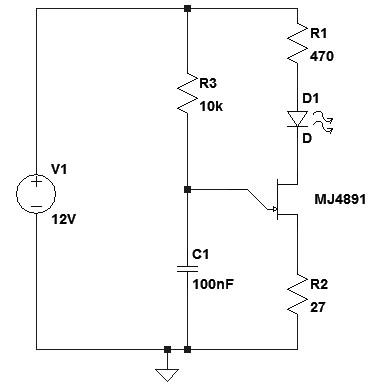 Figura 17: Lampeggiatore a rilassamento con UJT.