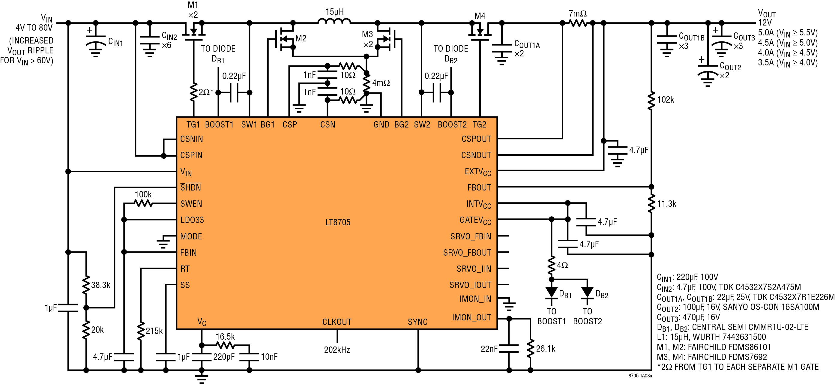 Figura 4. Schema dettagliato dell'LT8705 per un'uscita a 12V costante a partire da un ingresso compreso fra 4V e 80V