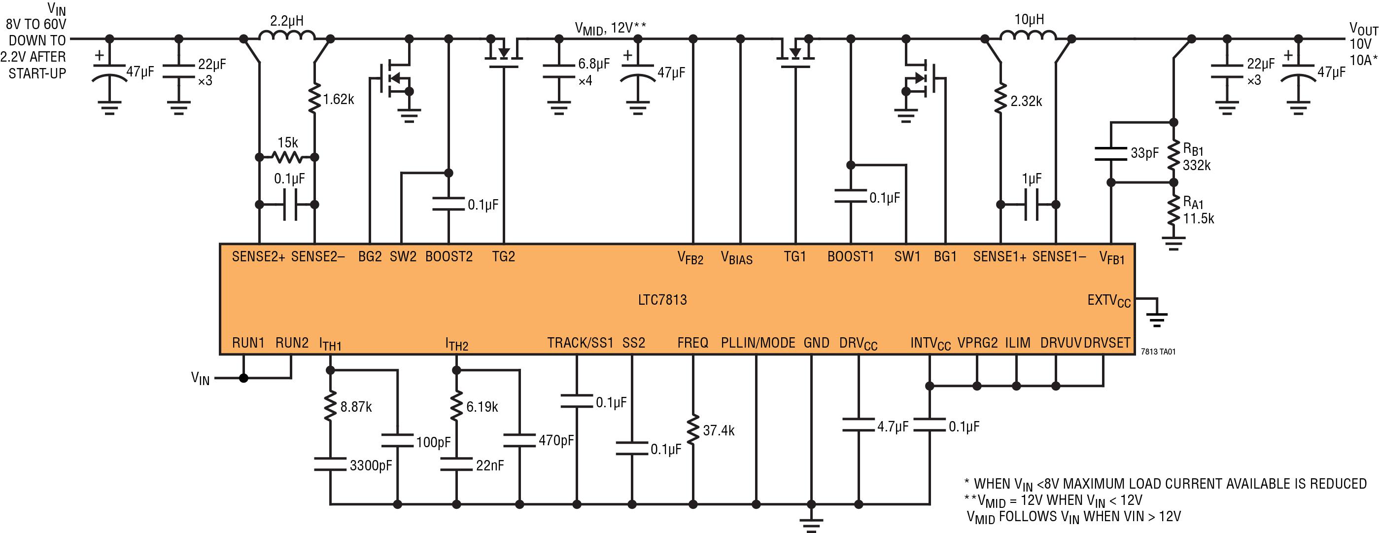 Figura 5. Lo schema dell'LTC7813 mostra un singolo circuito integrato con un regolatore boost e back in serie