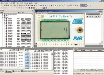 Figura 2. Schermata dell'AVR Studio con l'AVR LCD plug-in visibile al suo interno